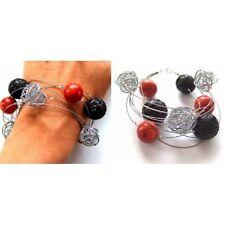 Armband, Koralle, Lavasteine Silber 925, NEU - UNIKAT