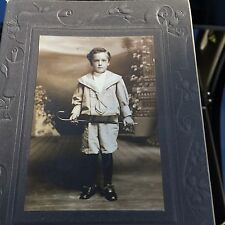 Little Boy Child With Cane Photograph CABINET CARD Fred Ernst Lancaster PA