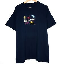 Broadway Times Square New York Embroidered Musical Mens T-Shirt Size Large Blue