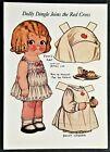 2 Grace Drayton Dolly Dingle Paper Doll Postcards, Red Cross Nurse, Dog. 1980s.