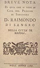 NAPOLI RAIMONDO DI SANGRO PRINCIPE DI SAN SEVERO BIBLIOGRAFIA