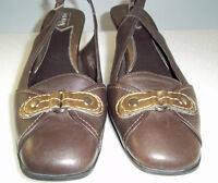 Aerology By Aerosoles Brown Leather Slingalong  Heels Shoes Size 6 ½ MED