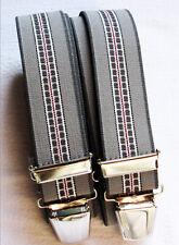 Neutrale Hosenträger extra stark extra lang 4 stabile Clip waschbar 40°grau