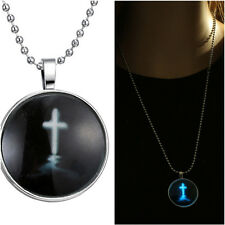 Black Cross PendantIn the Dark Glowing Cabochon Tibet Long Chain Glass Necklace
