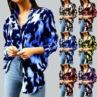 Women Ladies Long Sleeve Leopard Tops Blouse Loose V Neck Tunic  Casual Shirt