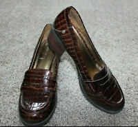 Nine West Brown New Kimmie Alligator Print Loafers Shoes Womens Size 7.5 7 1/2