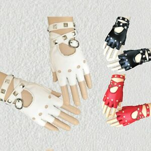 Motor Punk Cool Rivet Lady Women Sexy Fingerless Driving Lady Leather Gloves