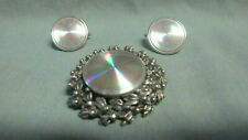 Vintage  Silver Tone w/ Light Reflecting Metal Brooch Pin & Pair Clip on Earring