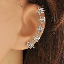 beauty Retro Crystal Star Flower Gold Ear Cuff Stud Earring Wrap Clip On Ear