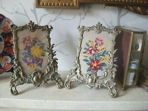 PAIR VINTAGE/ANTIQUE ORNATE BRASS EASEL PICTURE FRAMES (CROSS STITCH INSETS)