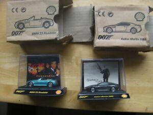 2 x James Bond Shell Cars,Aston Martin DBS Quantum of Solace & BMW Z3 Golden Eye