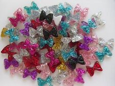 "20pcs x ""Glitter Sparkly Square Bow Mix J"" 3D Acrylic Nail Art Craft Decoration"