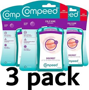 3 x Compeed Cold Sore Treatment Patch (Total: 45) Plaster/Band-Aid 12 Hour/ Fast