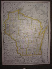 1890 LARGE MAP ~ WISCONSIN STATE COUNTY RAILROAD ~ EXCELLENT CONDITION MCNALLY