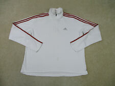 Adidas Sweater Adult Extra Large White Red Zip Long Sleeve Pullover Mens *