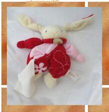 Doudou Peluche Lapin Blanc Rose Rouge Broderie Fleur Mouchoir Blanc BabyNat'