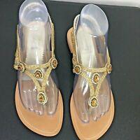 Stylo Women's Gold Rhinestone Thong Sandals - Back Elastic Strap Size 9