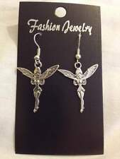 peter pan inspired silver tone fairy / tinkerbell earrings