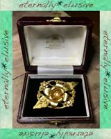 Large Antique Victorian Vintage Jewelry Old Diamond Paste Gold Floral Brooch Pin