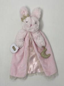 Mud Pie Pink Bunny Rabbit Security Blanket Lovey Princess Crown Moon