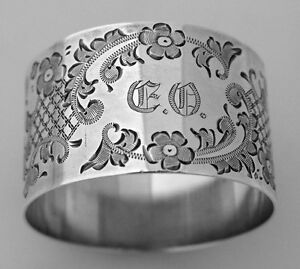 Brite Cut Floral Scroll Napkin Ring Sterling Silver International 1910