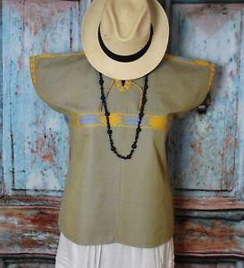 M/L Huipil Yellow & Blue Pinstripe Handwoven Back Strap Loom Maya Chiapas Mexico