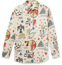 NWT $925 THE ELDER STATESMAN Printed Wool Cashmere and Cotton-Blend Shirt Medium
