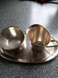 Sahne Set - Zucker und Milch auf Tablett - Silber 800 - deutsch
