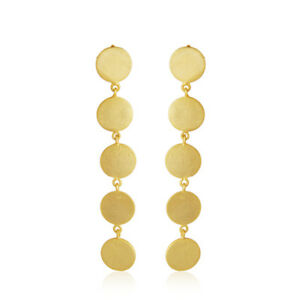 Handmade 18K Yellow Gold Plated 925 Silver Coin Design Earrings Jewelry
