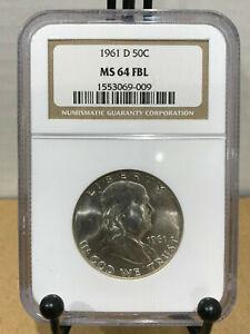 1961-D Franklin Half Dollar 50c NGC MS64FBL Mint State 64 Full Bell Lines