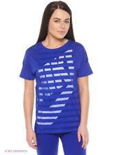 NIKE TEE-STRIPE Women's Gym Short Sleeve   Blue/White