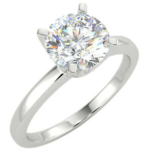 1 Ct Round Cut VS1/D Solitaire Diamond Engagement Ring 14K White Gold
