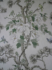 "GP & J BAKER CURTAIN FABRIC DESIGN ""Tree Peony"" 6 METRES CREAM/IVORY/SAND (600CM"