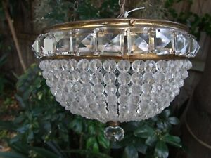 ANTIQUE BOHEMIAN CRYSTAL BEADS & BRASS FITTINGS  BASKET CEILING LIGHT C.1920