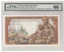 France 1000 Francs Banknote 1942-44 Pick# 102 PMG GEM UNC 66 Vintage