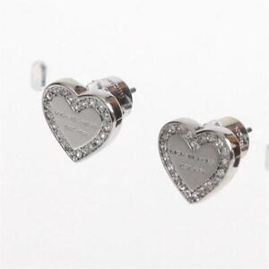 Michael Kors Silver Tone Pave Logo Heart Charm Stud Earrings