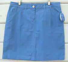 TSUNAMI Slate Blue 100% Cotton Casual Flat Front Knee Lenth Skirt Wms 8 NWT