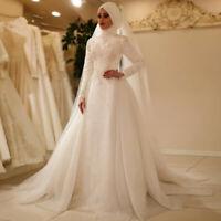 Muslim Full Covered White Wedding Dress Mermaid Beaded Long Sleeve Bridal Gown