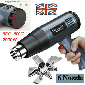 2000W Professional Electronic Hot Air Heat Gun Paint Stripper with 6 Nozzle UK