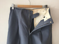 Vintage Hollywood Waist Deadstock 1940S Men'S Grey Wool Blend Pants W30 x 29