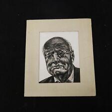 Vtg 50's DRAWING Profile Oil Etching SKETCH Man PORTRAIT Unframed French Artist