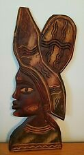 "Hand Carved Wood Wall Hanging Women Tribal African? Unsigned 15"" Tall 6"" Wide"