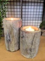 Rustic Wood Effect Concrete Tea Light Candle Holder Woodland Wedding Decoration