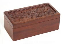 Large Rosewood Carved Box Pet Cremation Urn Dragon Phoenix Pattern