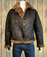 Vintage IRVIN 1970s REPLICA WWII Real Sheepskin Shearling Flying Jacket