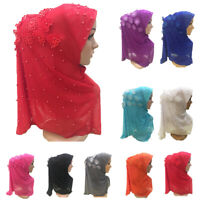 One Piece Muslim Amira Hijab Beads Scarf Flower Women Headscarf Wrap Islamic Hat