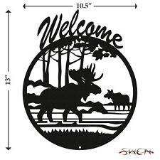 SWEN Products MOOSE WILDLIFE Black Metal Welcome Sign