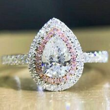 2.50 Ct Excellent Pear Cut Diamond Halo Engagement Ring 14K White Gold Finish