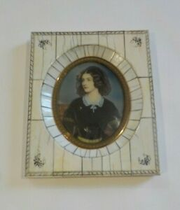 19th C. Miniature Watercolor Portrait Painting, Young Woman, Lace Scarf (#4)