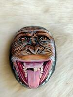 Hand Painted Chimpanzee Face On Natural Rock Stone Art Gift Deco Paperweight